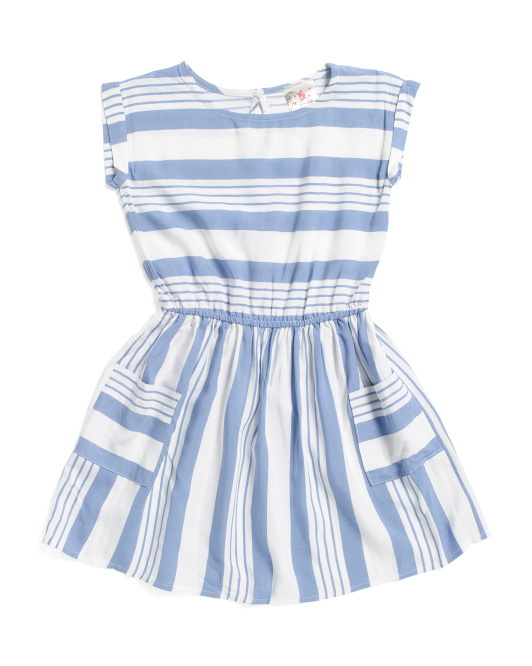 JENNA & JESSIE Little Girls Striped Challis Dress $12.99