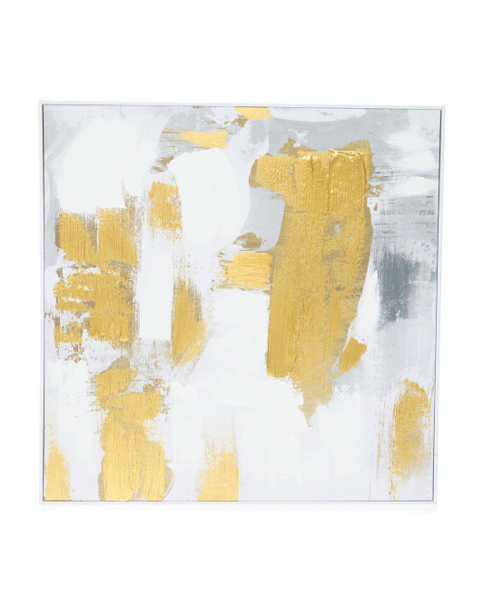 Dash Of Gold Abstract Framed Canvas Wall Art $49.99