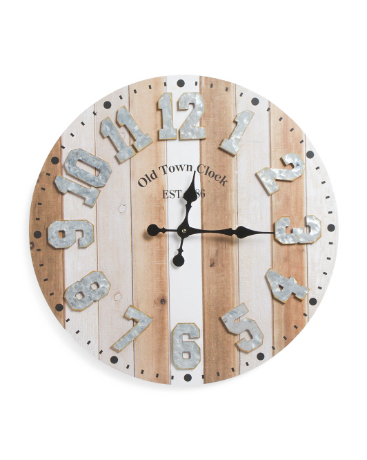 CONCEPTS IN TIME 24in Galvanized And Wood Wall Clock $24.99