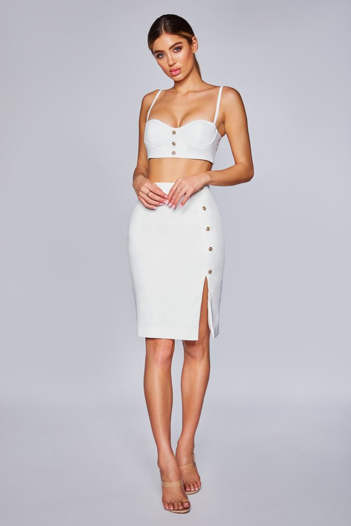 TRINITY GOLD BUTTON SPLIT SKIRT - WHITE $63.99
