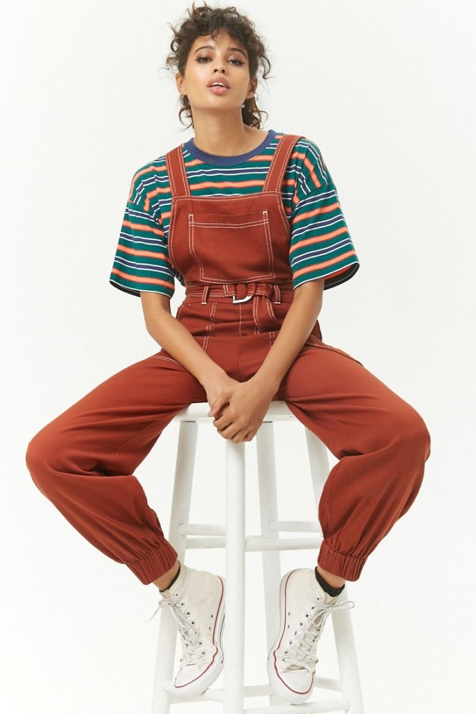 Contrast Stitched Overalls $23.90