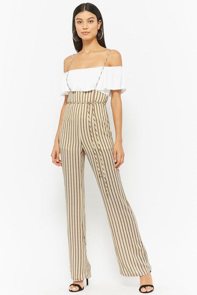 Striped Suspender Jumpsuit $25.99