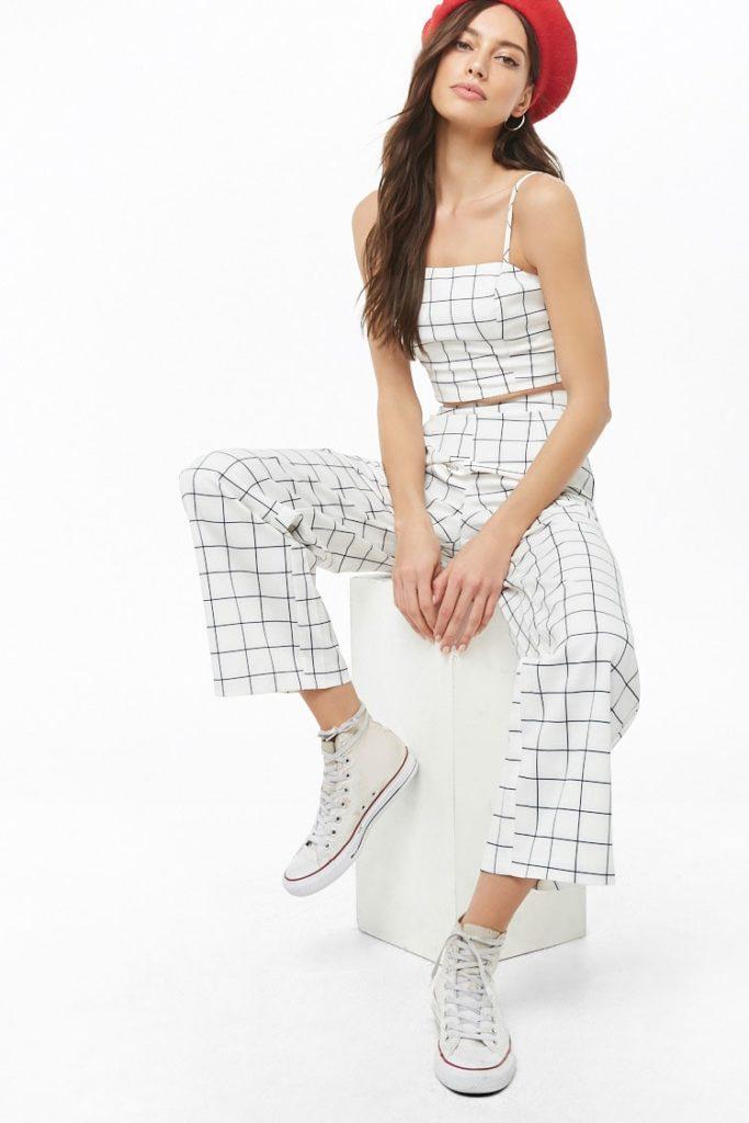 Grid Print Cropped Cami & Pants Set $44.90