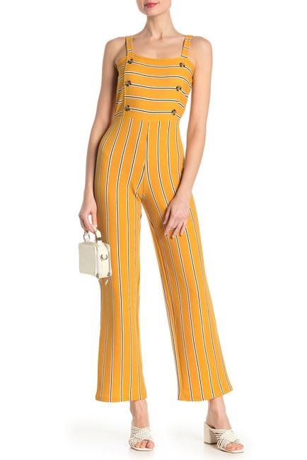 PLANET GOLD Striped Print Button Wide Leg Jumpsuit $19.97