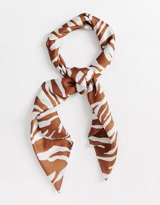 headscarf/neckscarf in brown zebra print $23.00