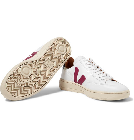 VEJA V-12 Bastille Rubber-Trimmed Leather Sneakers $195