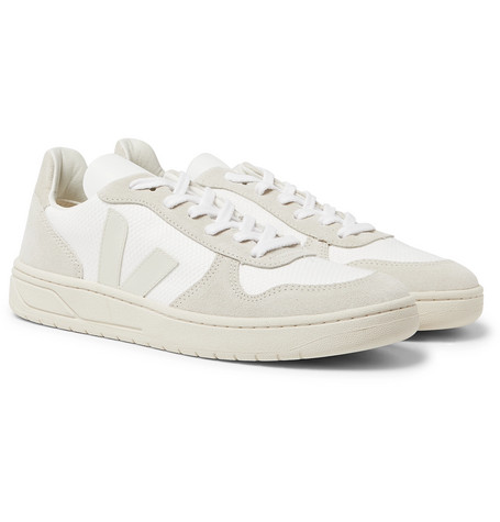 VEJA V-10 Rubber-Trimmed Suede And B-Mesh Sneakers $140