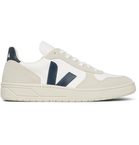 VEJA V-10 Suede, Leather And Rubber-Trimmed B-Mesh Sneakers $140