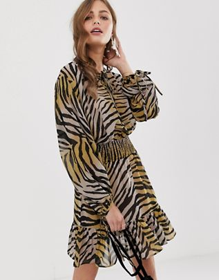 mini dress with elasticated waist in colored zebra print $48.00