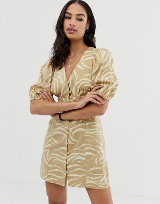 button through v front v back mini dress in natural zebra $48.00