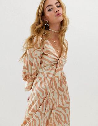 knot front midi dress in natural zebra print$67.00