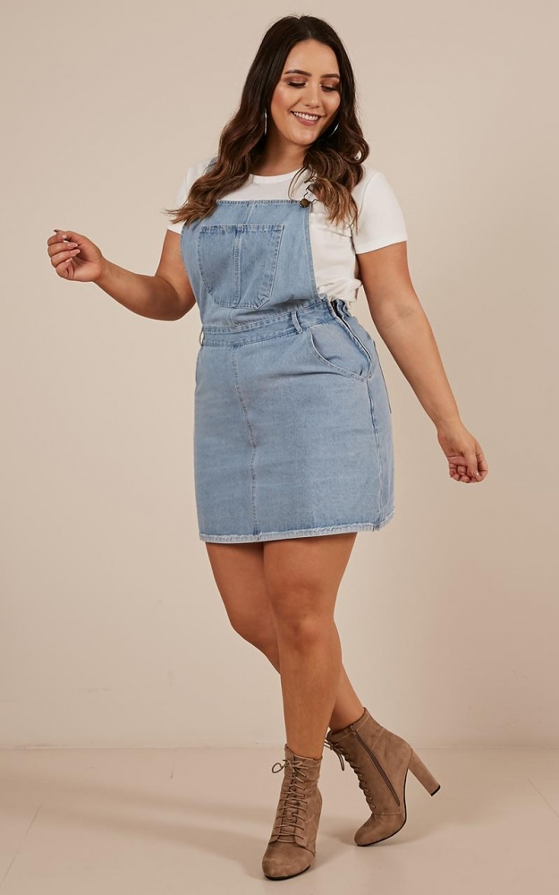All My Friends Overall Dress In Blue Wash $57.95