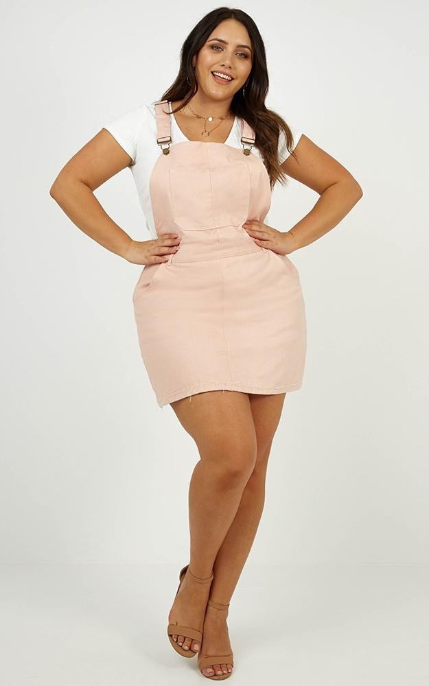 All My Friends Overall Denim Dress In Blush$57.95