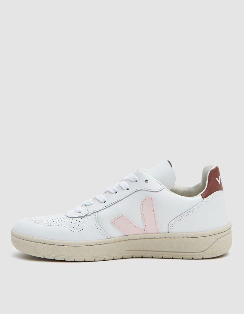 Veja V-10 Leather Sneaker in Extra White Petal $150