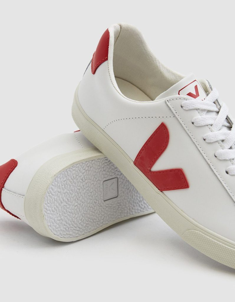Veja Esplar Logo Leather Sneaker in Extra White Pekin $120