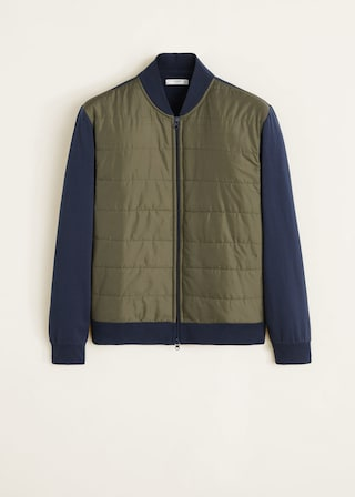 Contrast quilted panel bomber $79.99