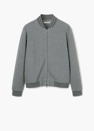 Flecked cotton college bomber $89.99