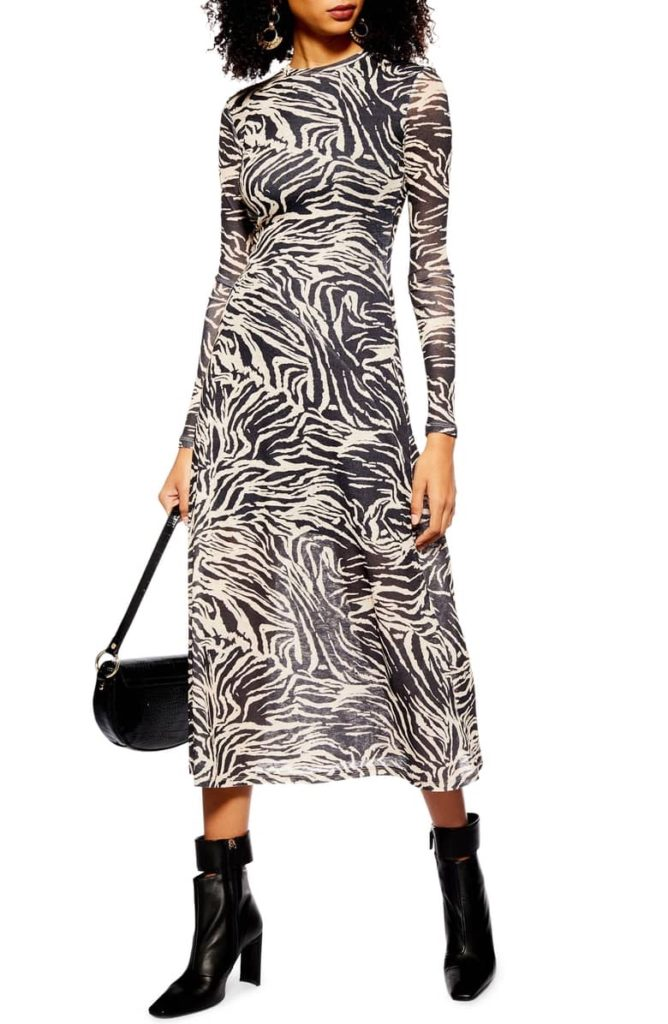 Zebra Mesh Midi Dress TOPSHOP $60.00