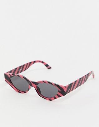 angular cat eye sunglasses in zebra print $19.00