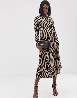 Maternity tie waist maxi dress in animal print $56.00