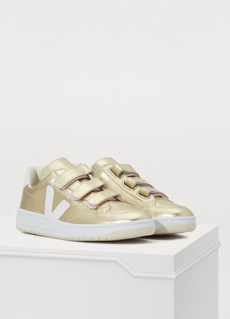 V12 metallic Velcro sneakers $155