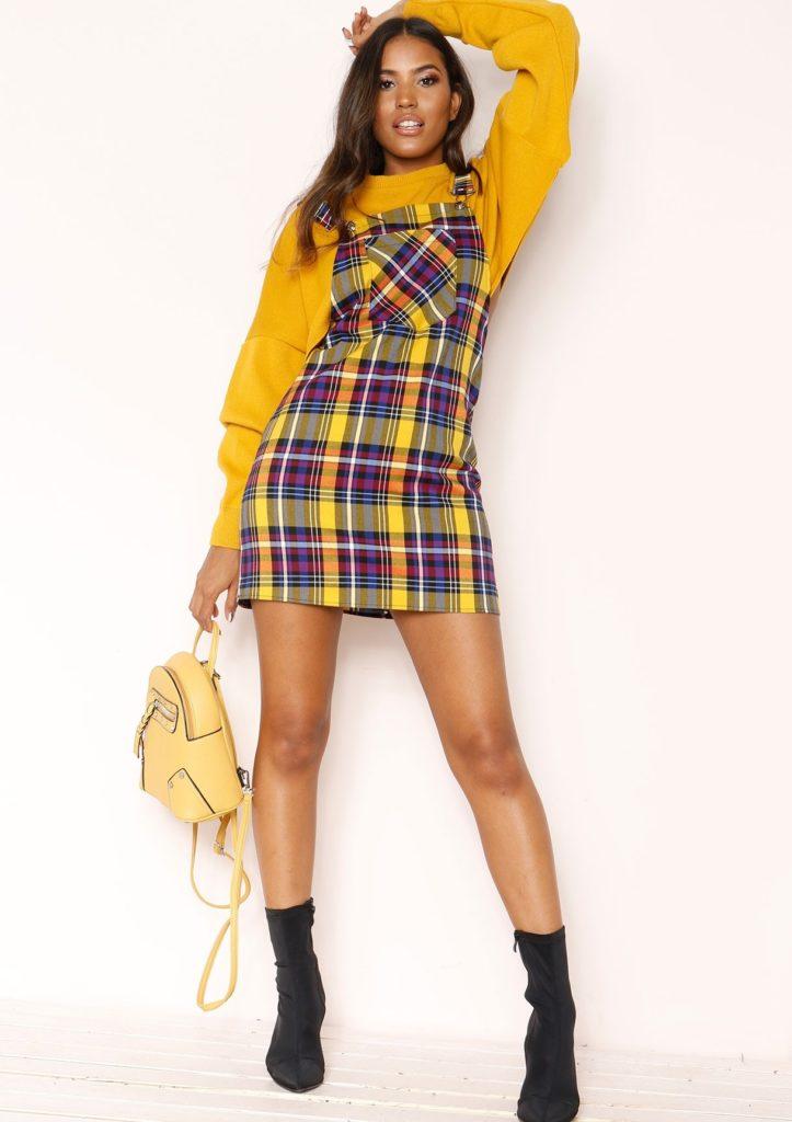 Shani Yellow Check Dungaree Dress $37.27