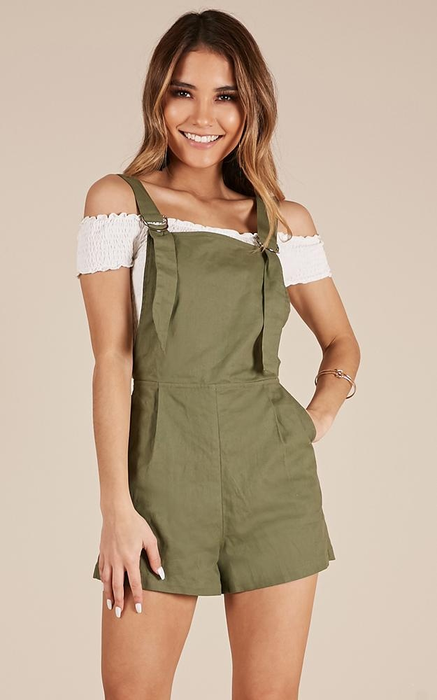 Just The Way You Are Playsuit In Khaki Linen Look $53.95