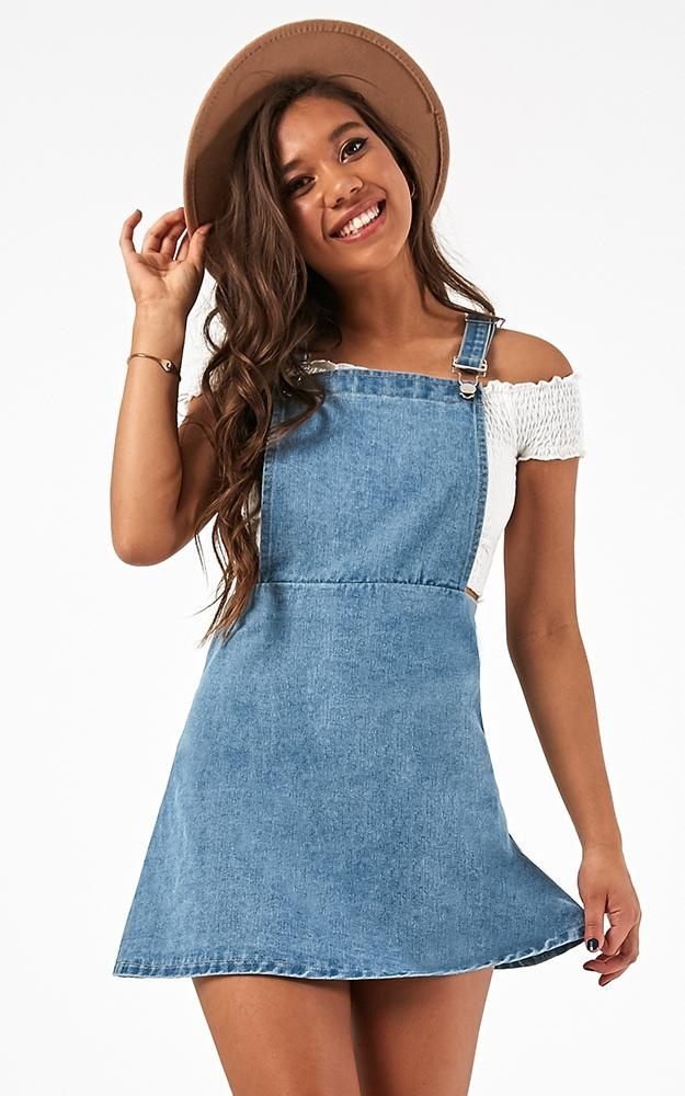 New Perspective Dress In Light Wash Denim $53.95