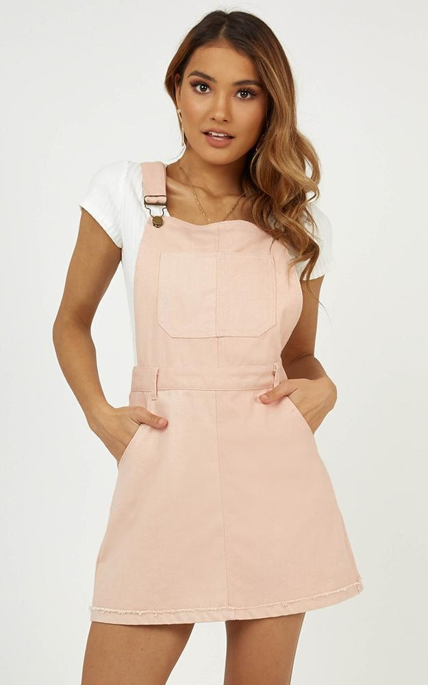 All My Friends Overall Denim Dress In Blush $57.95