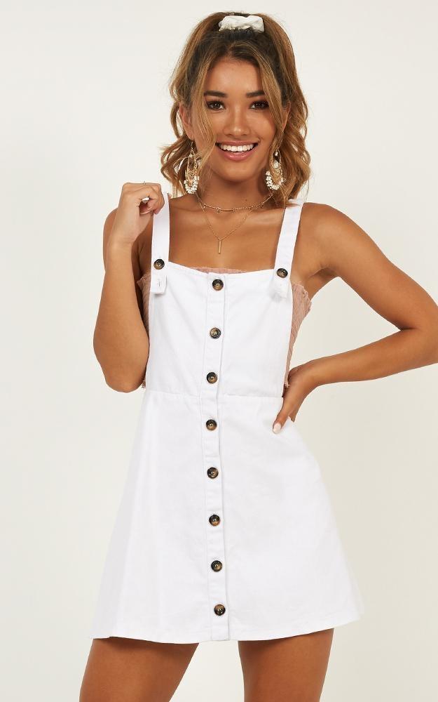 Ring Leader Pinafore Dress In White Denim $50.95