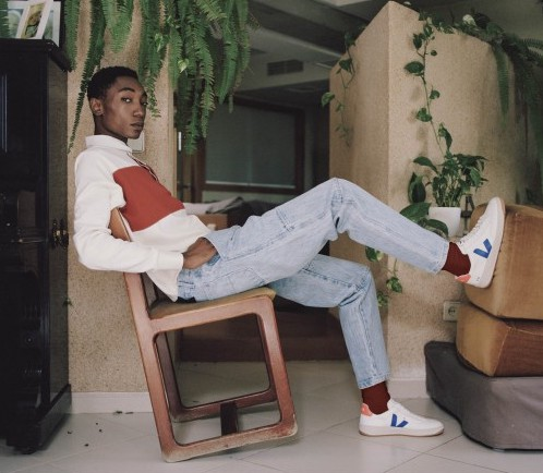 Veja V-12 B-Mesh Sneaker in White/Indigo/Orange Fluorescent $140