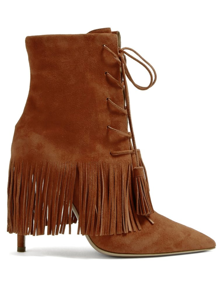 AQUAZZURA Mustang 105 fringed suede ankle boots $1,195