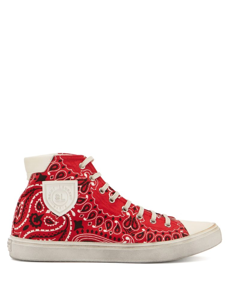 SAINT LAURENT  Bedford bandana-print canvas high-top trainers $695