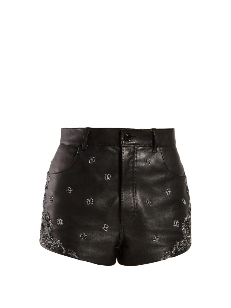 SAINT LAURENT  High-rise embroidered leather shorts $3,990