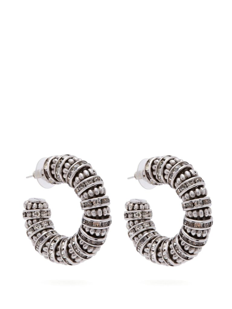 SAINT LAURENT  Crystal and bead-embellished chunky hoop earrings $895