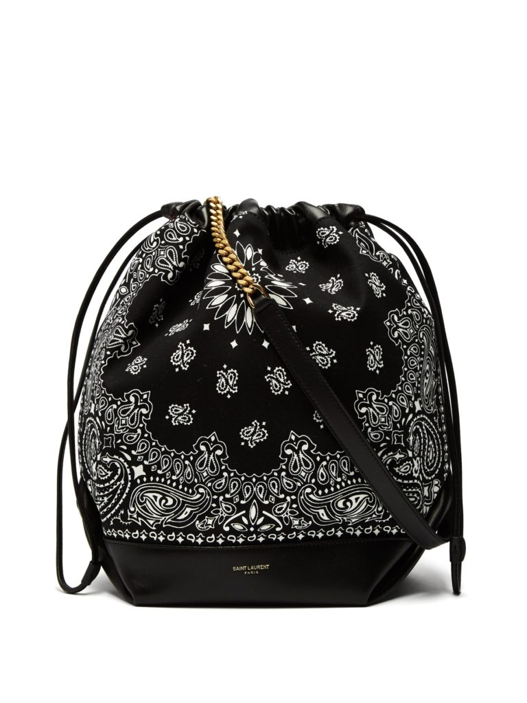 SAINT LAURENT  Teddy bandana-print drawstring bucket bag $1,290