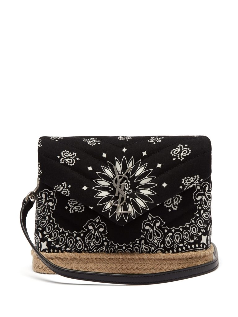 SAINT LAURENT  Loulou bandana-print espadrille shoulder bag $1,650