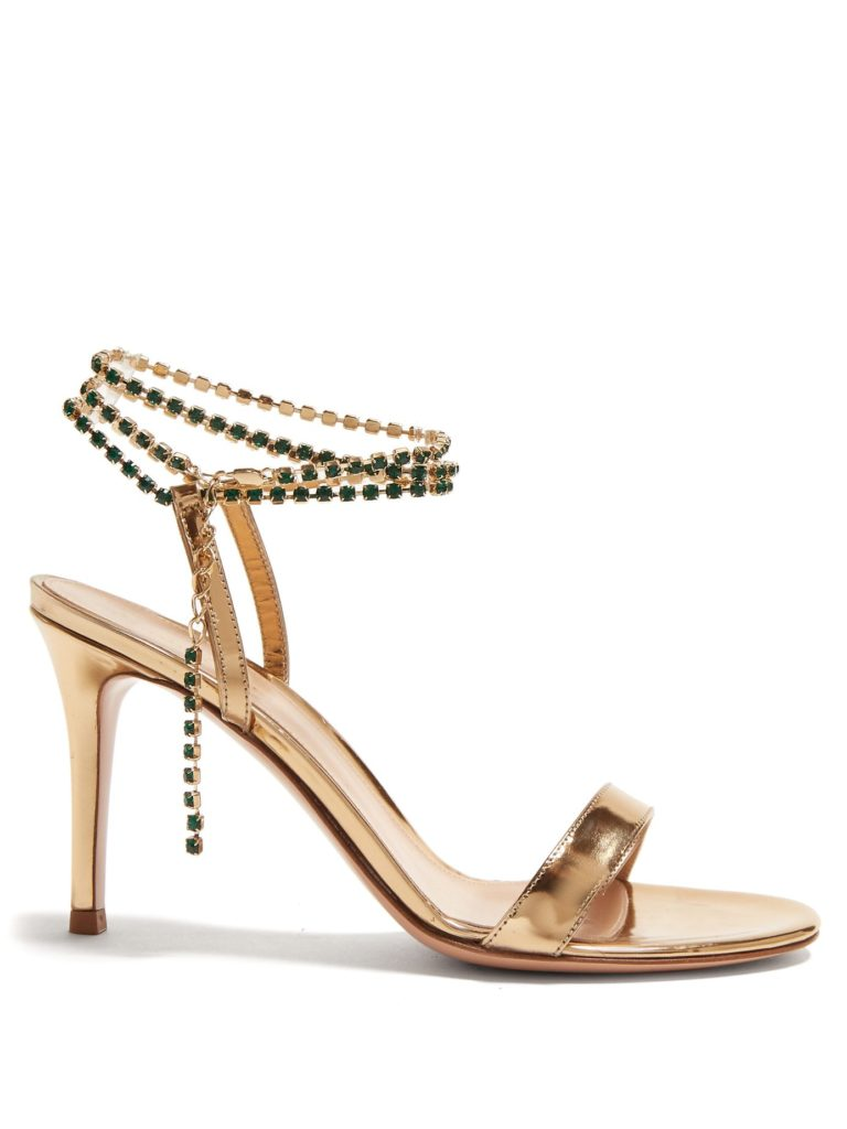 GIANVITO ROSSI  Gems 85 crystal-embellished leather sandals $1,295