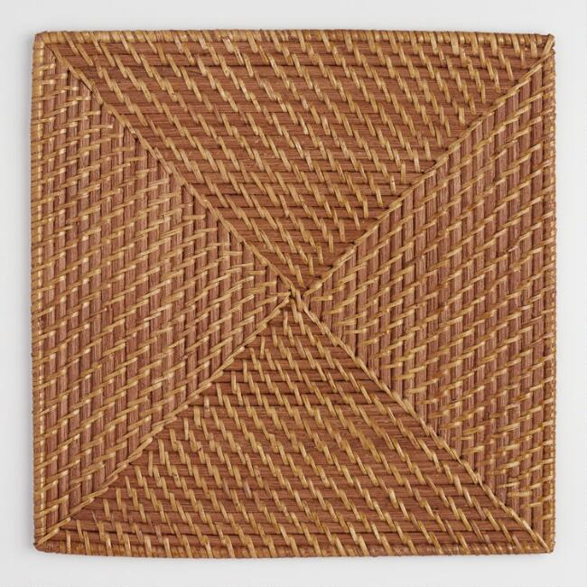 Square Rattan Chargers, Set Of 4 $35.96