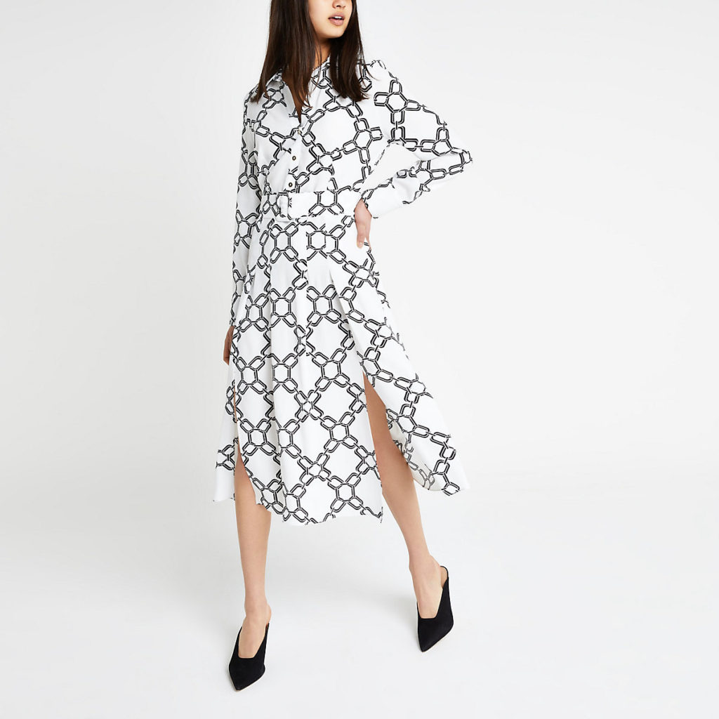 White print midi shirt dress $110.00