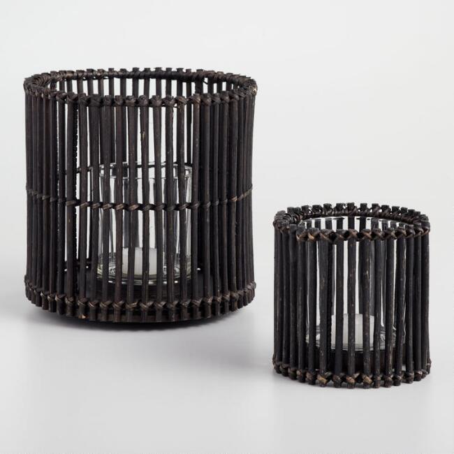 Black Rattan Cylinder Hurricane Candleholder$6.99 - $14.99