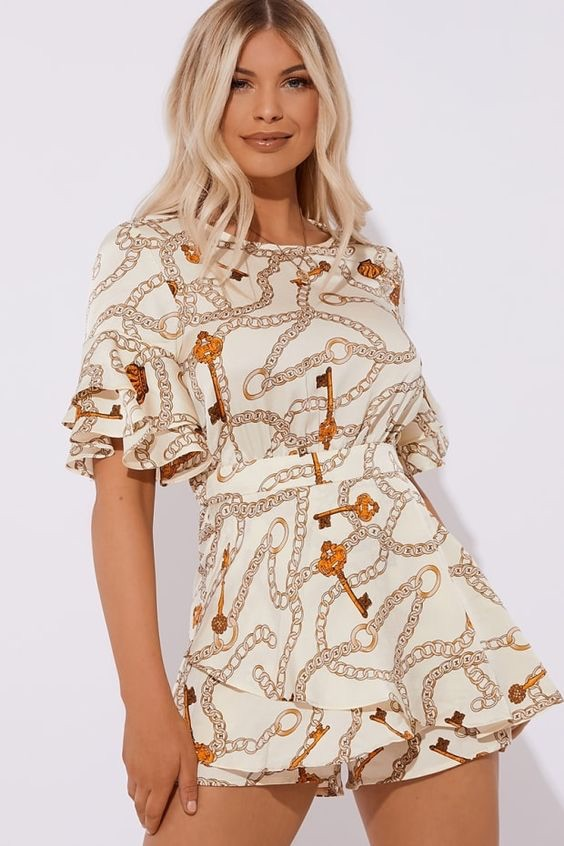 CHAIN PRINT TIE BACK PLAYSUIT $52.00