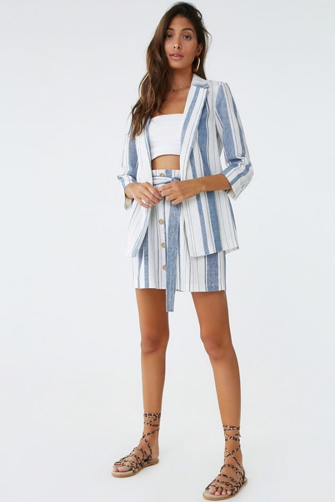 Striped Linen-Blend Longline Blazer $25.00