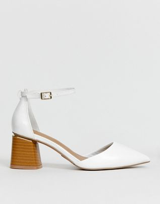 Stardust pointed mid heels in white $56.00