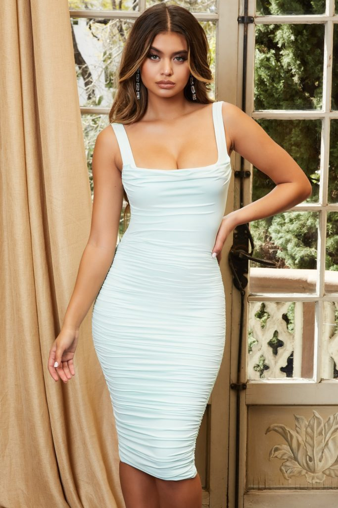 RUCHED MIDI DRESS IN  $57.29