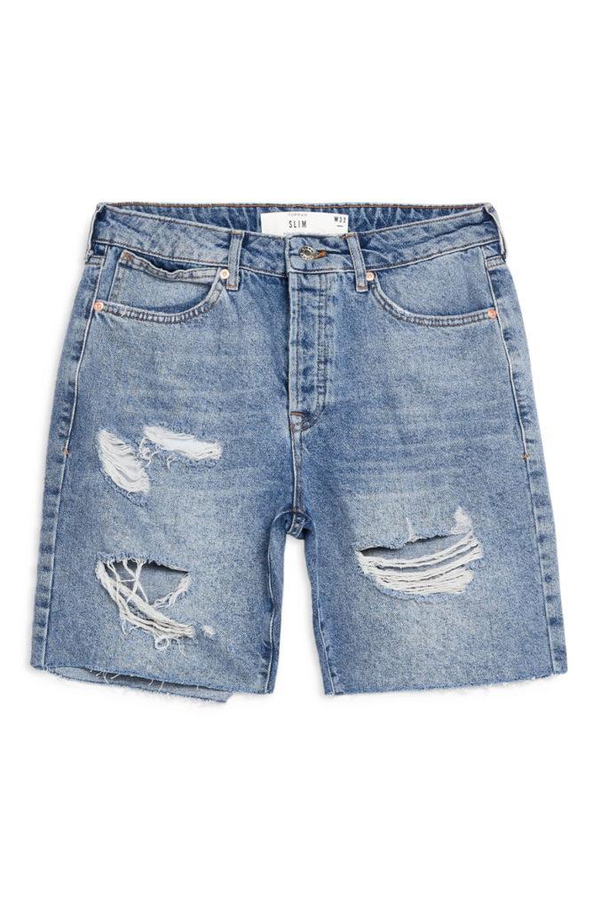 Ripped Slim Fit Denim Shorts TOPMAN $55.00
