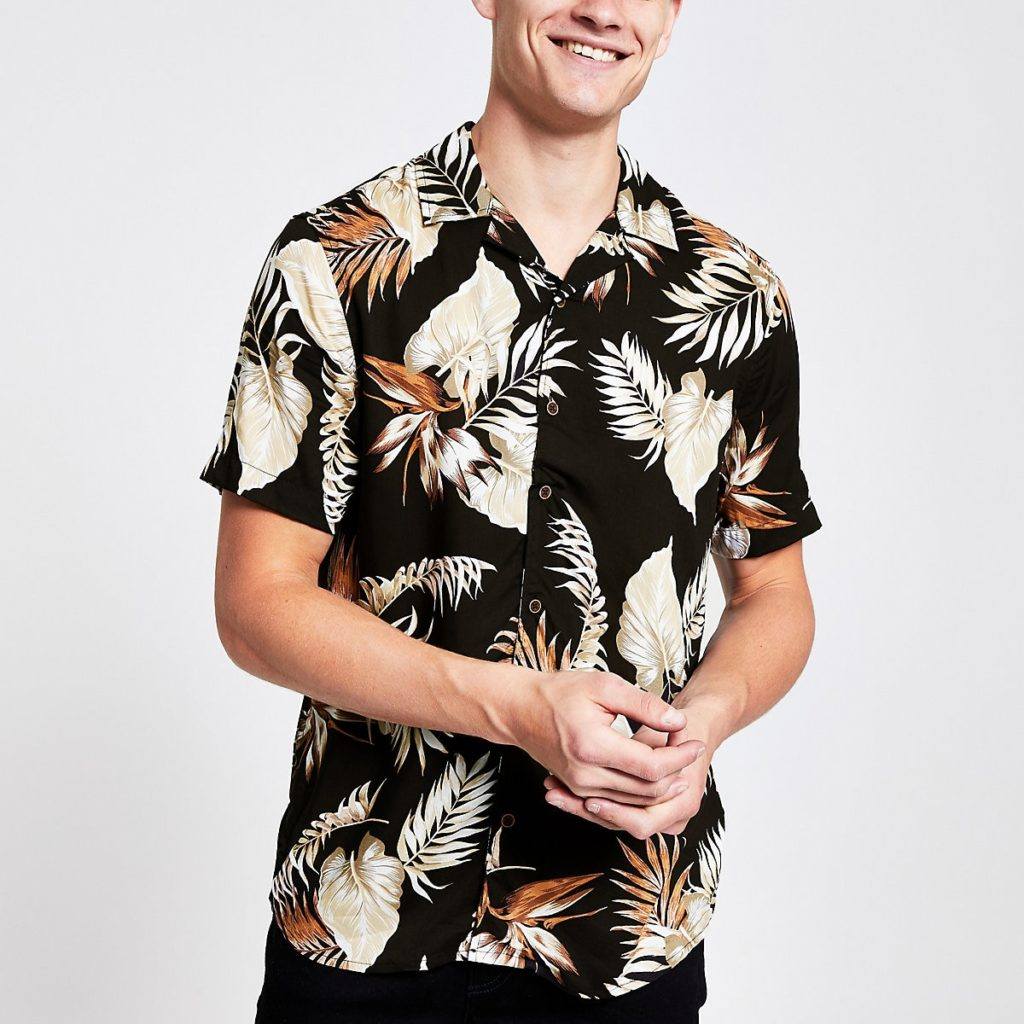 Only & Sons brown tropical print shirt $50.00