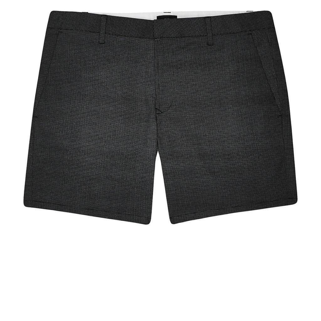 Navy geo print slim fit shorts $56.00
