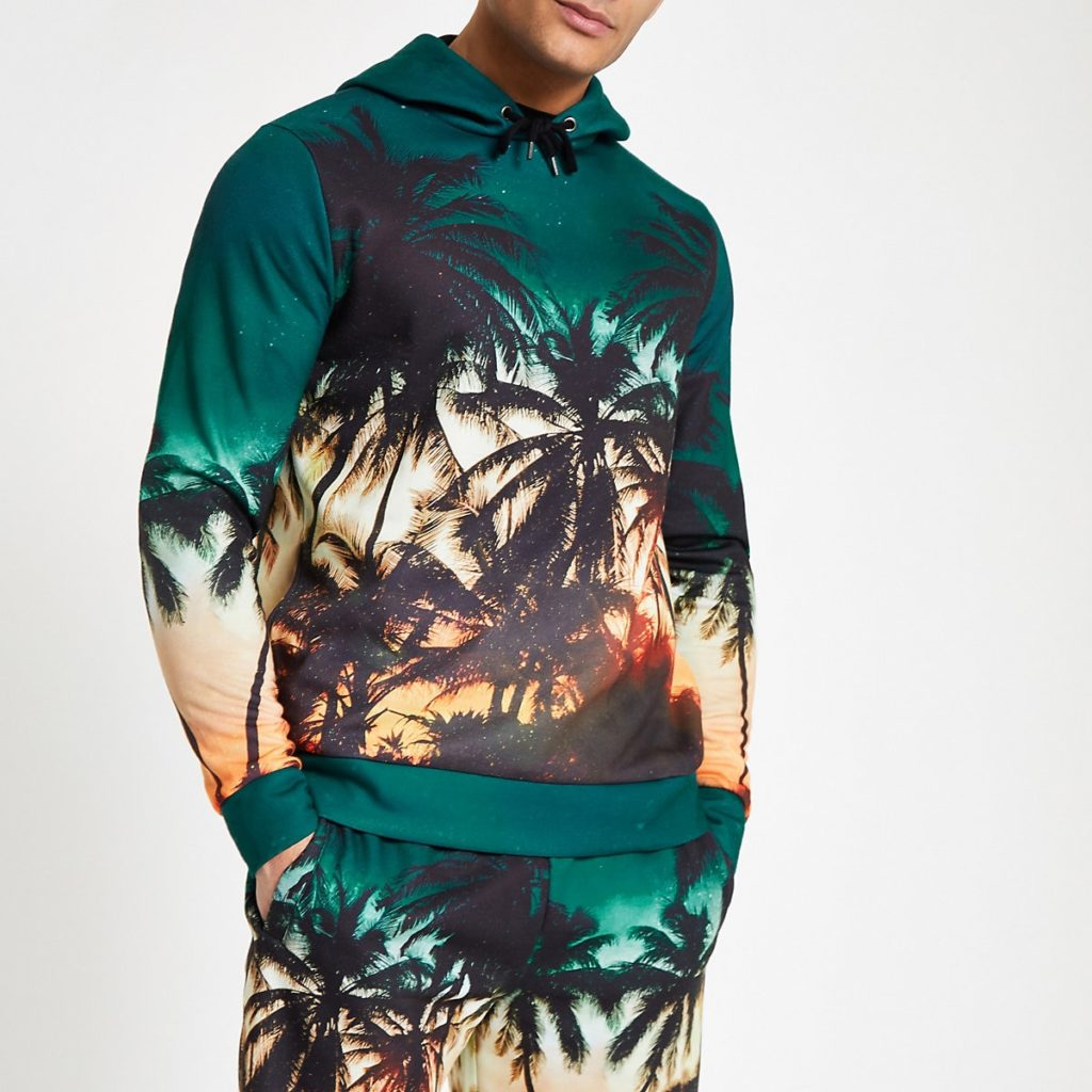 Blue palm print slim fit hoodie $64.00