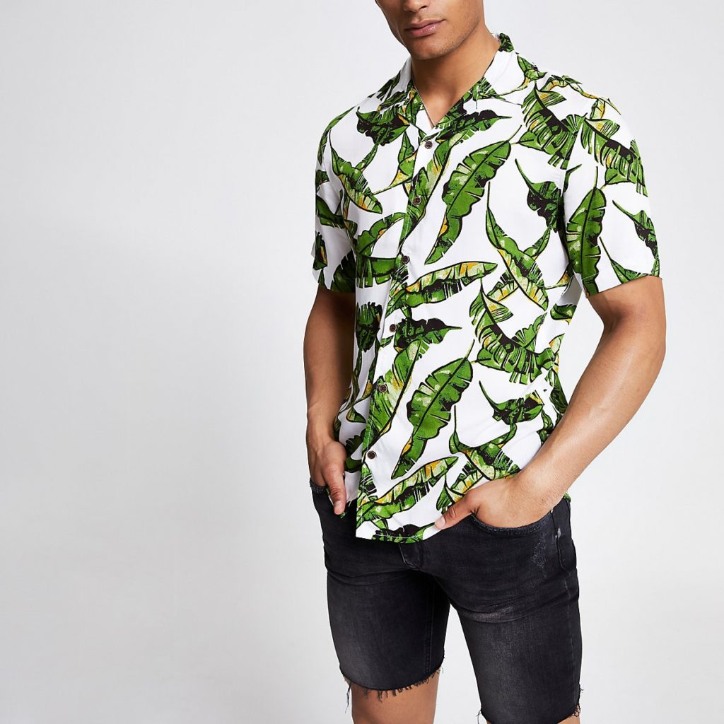 Only & Sons white tropical print shirt $50.00